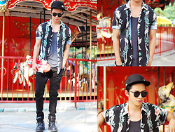 David Guison - Thrifted Floral Polo, Lacoste Cap - Floral Dream