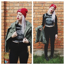 Alexia Bambi - Military Coat, American Apparel High Waisted Jeans, Thrift Jumper, Wittner Boots - Bad2thebone