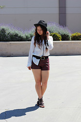 Cindy C. - Ralph Lauren Belt, Forever 21 Shorts, Zooshoo Blouse, Forever 21 Fedora - Don't let them bring you down- stay strong.