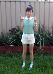 WHITNEY - Forcast Mint Singlet, Lioness Lace Shorts - Mint Macaron
