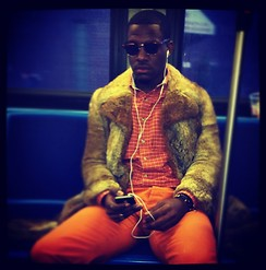 Adonai Green - Club Monaco Orange Chinos, Hugo Boss Orange Long Sleeve, Céline Fur Trench Coat - I forgot that I was in NYC