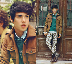 Vini Uehara - Men's Mandarin Collar Coat Slim Long Sleeve Jaket Top Outerwear Worsted Coats, New York Boots - We're up all night to get lucky