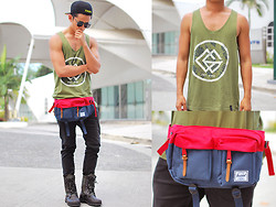 David Guison - Greater Good Tank Top, Herschel Supply Co. Hip Pack - Festival Best