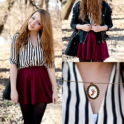 Gabriela Grębska - Sheinside Shirt, Vivilli Skirt, Kelly At Large Necklace, Zlz Jacket - Striped shirt