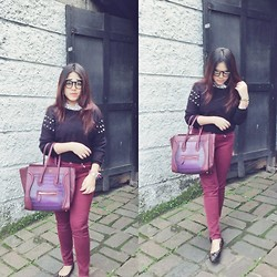 Nysa Astari - Studded Sweater, Marc By Jacobs Studded Mouse - Maroon