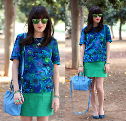 Fashion Pea - Whistles Blouse, Givenchy Bag - Fifty shades of blue (and green)