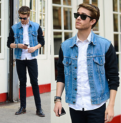 Adam Gallagher - Similar Here  > Gilet, Black Hoodie, White Shirt, Armani Exchange Watch, Ray Ban Wayfarer, Similar Here  > Oxfords - Red line
