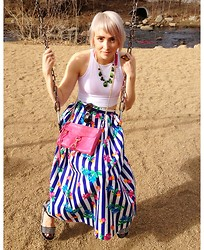 Madison Moorhead - American Apparel Crop Tank, Rebecca Minkoff Side Strap, Vintage Floral/Striped Skirt, Deena & Ozzy Spiked Flatforms, D&G Sunnies, Local Designer? Turquoise Necklace - Spring Teaser