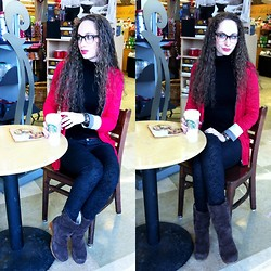 Pauline - Forever 21 Glasses, Burberry Reversable Sweater, Celebrity Jeans Black On Black Snake Skin Print, Ugg Boots, Starbucks Sarah Steamer - Another Nerd. In Burberry. At Starbucks.