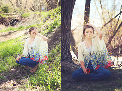 Heather Bybee - Forever 21 Sheer Blouse, Modcloth High Wasted Blue Jeans, Thrifted Sandals - Love in her eyes, flowers in her hair