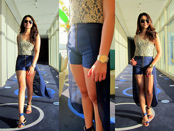 Lui Raymundo - Ginger/ Tea Hi   Low Skort, Vnc Sandals, Bazaar Lace Top, Mango Sunnies - In praise of the sun...