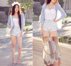 Jennifer Wang - Merrin & Gussy Cross Necklace, Ianywear Light Blue Chiffon Jacket, Nasty Gal White Lace Bustier, Yeswalker White Faux Leather Backpack, Motel Rocks Paisley Shorts, Nine West Nude Ankle Strap Pumps - CLOUD NINE
