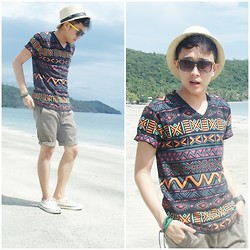 Leo Miguel Rivera - Bench Aztec Print Shirt, Splash Shorts, Tommy Hilfiger Shoes, Sm Dept. Store Sunnies, Borrowed Fedora - Aztec and Summer