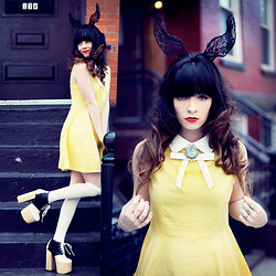 Rachel-Marie Iwanyszyn - Choies Yellow Dress, Noelle Let Me Borrow Them Knee High Socks, Deandri Ginger Platforms, Vintage Brooch, Choies Rabbit Ear Headband - HORNS OF A RABBIT.