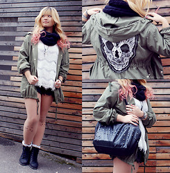 InspiringThing ♡ - Skull Parka From Seoul, Gina Tricot White Lace Top, Forever 21 Necklace, Diy Cat Tights, Boots From Seoul, New Yorker Bag   - Cat Lace Skull