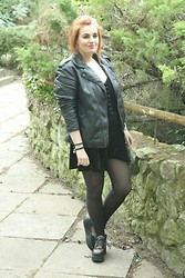 Jodie Marie Davey - Primark Velvet Playsuit, H&M Oversized Leather Look Jacket, Primark Sheer Tights, Office Flatforms, Gift Hippy Bag - Velvet playsuit