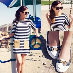 Lina Dinh - Club Monaco Hayley Knit Dress, Louis Vuitton Oversize Soupcon Sunnies, Zara Loafers - Let's Get Nautical