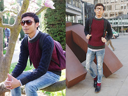 Pratama Putra Dany - H&M Sunglasses, H&M Glasses, Elena Braun Stripped Longsleeves Shirts, H&M Pullover, Eastpak Bagpack, H&M Jeans, H&M Socks And Shoes - Before and After school!