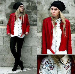 Milex X - Cruise Red Jacket, Mango Black Jeans - Over The Love