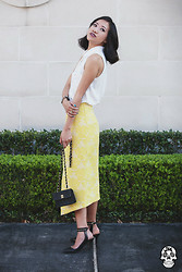 Issa Rocks - H&M White Button Up, Asos Midi Skirt, Zara Pointed Toe Pumps, Chanel Vintage Mini - Prim and proper.