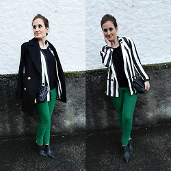 Tu Personal Shopper By Marta Antolinez - Zara Stripes Blazer, Zara Coat, Vintage Bag, Zara Pants, Zara Studded Booties - Green+stripes!!!