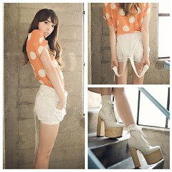 Zoë Harvey - Ecugo Orange And Cream Blouse, Thrifted Cream Shortalls, 99¢ Store Cream Frilly Socks, Deandri Tequila White Booties - Princess Toadstool