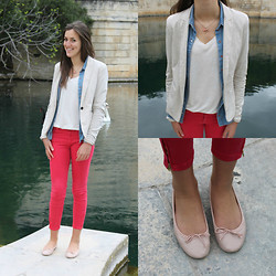The Camelia - Bershka Beige Sweat Blazer, H&M Jeans Shirt, H&M Beige Tee Shirt, Zara Strawberry Pants, New Look Pastel Pink Ballerina Flats - Strawberry