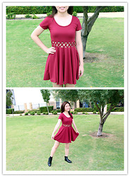 Marie Z - Sassy Dream Wine Criss Cross Skater Dress, Ebay Chelsea Boots - OOTD: Red Crosses ♥