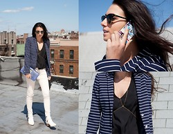 Amy Marietta - Vince Camuto Blazer, Caseable Custom Made Phone Case, Mylo Jewelry Body Chain, Vince Camuto Clutch, Ray Ban Shades - Get Lucky