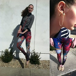 Pauline - Forever 21 Nautical Sweater, Forever 21 Bag, Romwe Fish Print Leggings, Toms Flats - Flying Fish