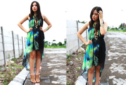 Nadya Joy - Random Brand High Low Dress, Aldo Strappy Sandals - Galaxy Wonders