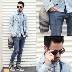 Reinaldo Irizarry - H&M Chambray Shirt, Guess? Denim Jacket, H&M Jeans, Diesel Sneakers, Wild Soul Sunglasses - DENIM TRIFECTA