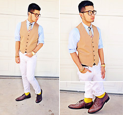 Shawn C. - H&M Maison Martin Margiela For Vest, Burberry Silk Tie, Zara Skinny Jeans - Burberry and Margiela for H&M