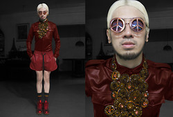 Andre Judd - Subcult Peace Copper Flipframes, Ann Ong Beaded Couture Neckpiece, Leather Buttondown Shirt, Subcult Red Leather Shorts, Nike Metallic Red Sneaks, H&M Stripey Socks - PEACING LEATHER