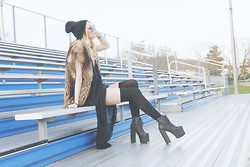 VEE L. - American Apparel Chiffon A Line Maxi, American Apparel Opaque Over The Knee Sock, Cynthia Steffe Fur Vest, Free People Moonies, Jeffrey Campbell Big Litas, Alchemy Hour Beenie - DOXOVER