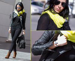 WOWS . - Lowlita & You Crossed Bracelet, Choies Quilted Shoulders Top - NEON YELLOW