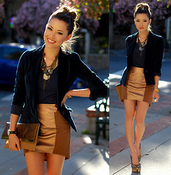 Jessica R. - Similar: Velvet Blazer, Clothes Envy Bronze Mini Skirt, Dailylook Clutch, Shoemint Metallic Heels - Spring Velvet