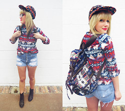 Whitney Paige - Obey Aztec Hat, Bdg Aztec Flannel, Levi's® High Waisted Shorts, Target Aztec Backpack, Rocketdog Brown Booties - Aztec