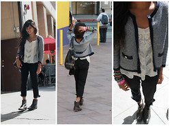 Sneha Bee - H&M Jacket, H&M Trousers, Kimchi Blue Chiffon Top, Forever 21 Brown Boots, Forever 21 Studded Purse - Speak a whisper