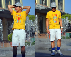 Vergil Lloyd Chua - Thrifted Gray Cap, Giordano Yellow Printed Shirt, Giordano Yellow Belt, Giordano White Shorts, Tomato White Watch, Oxygen Blue Socks, Topman Mid Cut White Shoes - Catching Summer