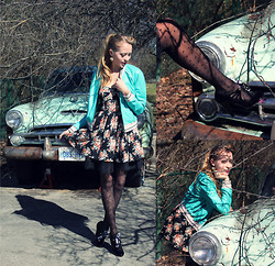 Natalie A - Winners Turquoise Leather Jacket, Betsey Johnson Mary Jane Shoes, Urban Planet Floral Dress - Greased Lightnin'