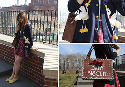 Jen L - Duck Cardigan, Biscuit Bag, Plaid Skirt - Duck duck goose