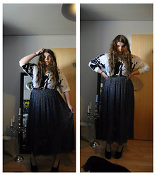Celina E - Kellermanartcollection Polo Shirt, Atmosphere Full Glitter Skirt, Piapao Black Chunky Pumps, ?? Black Belt - Mountains made of steam