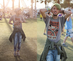 Bobby Raffin - Big Star Graphic Tee, Big Star Division Slim Fit Jeans, Big Star Recon Jacket, Dr. Martens Camo Shoes, Topman Aztec Beanie - California Sunset