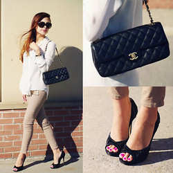 Lina Dinh - Zara Studded Collar Blouse, Zara Beige Coated Trousers With Zips, Chanel Quilted Lambskin, Jimmy Choo Peep Toe Pumps, Louis Vuitton Oversize Soupcon Sunnies - Keep It Classy