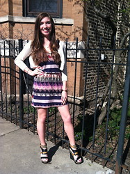 Victoria Unger - Urban Outfitters Cream Cardigan, Marshall's Aztec Dress, Mossimo Black/Brown Aztec Wedges - Saturday Ladies Day in the City