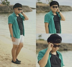 Jems Roxas - Oxygen Top, Thrifted Polo, Levi's® Denim Shorts, Cotton On Slip - UNSEA