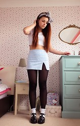 Amelia Breading - Topshop Pale Blue Slit Skirt - Powder Blue