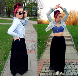 Mademoiselle Ana - H&M Denim Jacket, Converse Sneakers, Pull & Bear Maxi Skirt - PIN UP GIRL