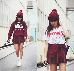 Willabelle Ong - Nice Hair Sweater, Burgundy Leather Skirt, H&M Burgundy Beanie, White Creepers, Gold Chain Link Necklace, Paws Kitty Tee - NICE HAIR
